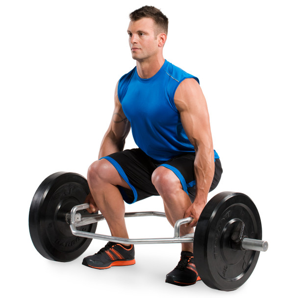 Model squatting while holding CAP Olympic Zinc Plated Combo Hex Bar