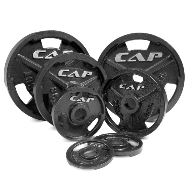Various sizes of CAP Olympic Cast Iron Grip Plates