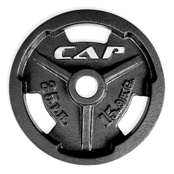 35 lb CAP Olympic Cast Iron Grip Plate, Black