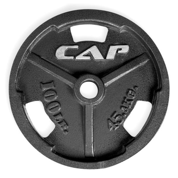 100 lb CAP Olympic Cast Iron Grip Plate, Black