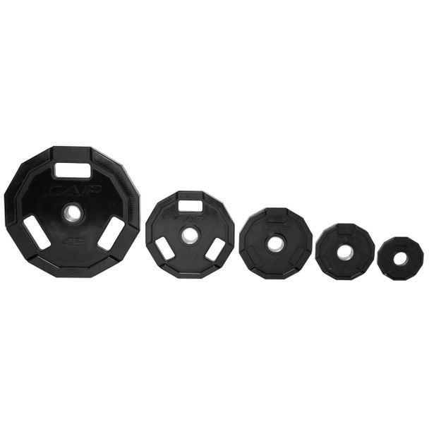 Multiple sizes of CAP 12-sided Olympic Rubber Coated Grip Plate