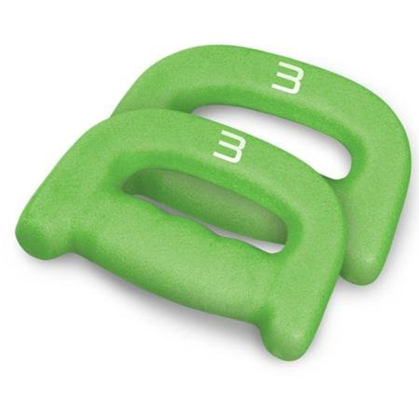 Pair of green 3 pound CAP Walking D-Dumbbells