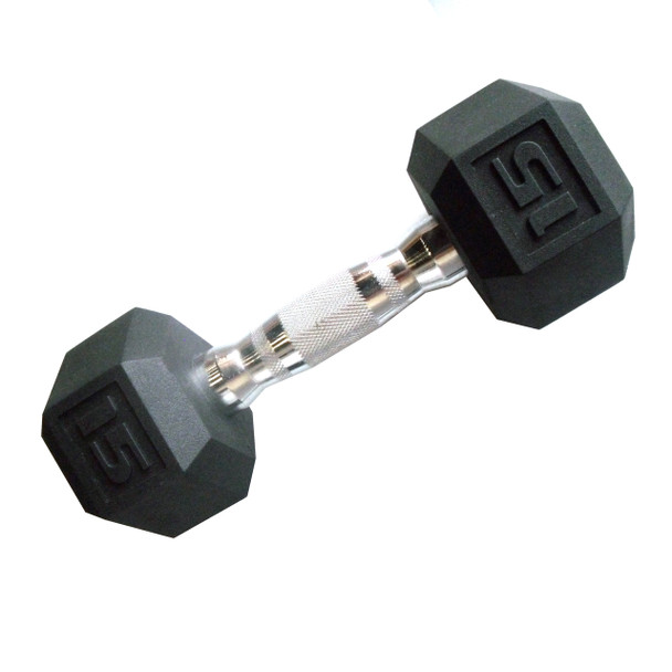 15 pound CAP PVC-Coated Hex Dumbbell with Contoured Chrome Hand Grip