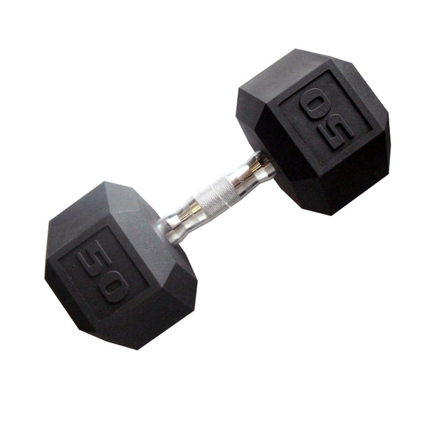 50 pound CAP PVC-Coated Hex Dumbbell with Contoured Chrome Hand Grip