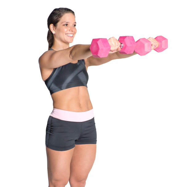 Model using CAP PVC Coated Color Hex Dumbbell, 3 lb, pink