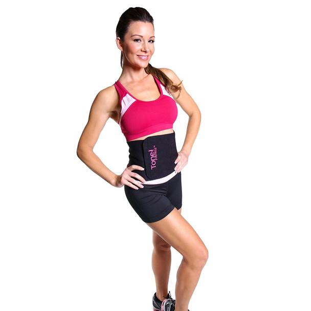 Model using Tone Fitness Black Waist Slimmer with Gel Pack