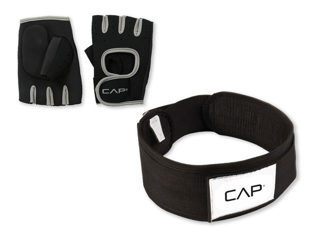 CAP Barbell Nylon Weight Lifting Belt and Weight Lifting Gloves Bundle