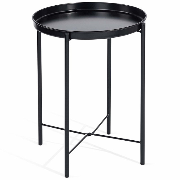 CAP LIVING 1 or Set of 2, Foldable 17-Inch Round Metal Tray End Table, Side Table, Colors Available in Matte Black and Matte White