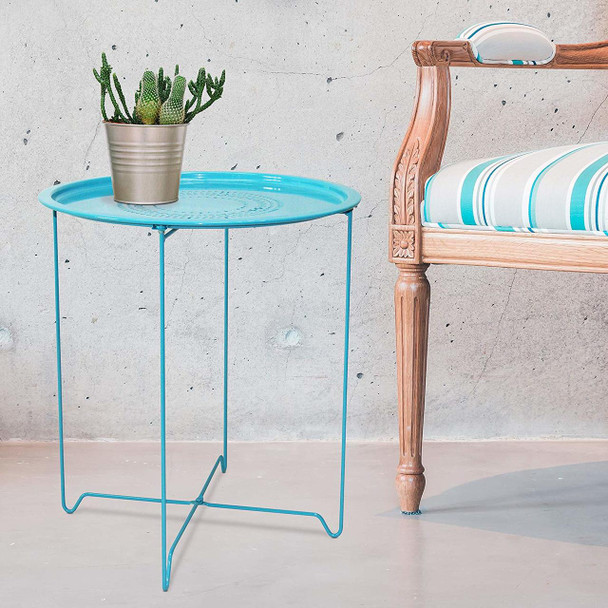 CAP LIVING 1 or Set of 2, Foldable 18-Inch Round Metal End Table, Side Table, Colors Available in Capri Breeze (Blue) and Samba Red