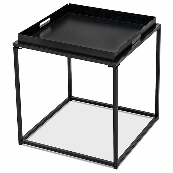 CAP LIVING 15.7-Inch Square Metal Tray End Table, Side Table, Colors Available in Matte Red and Matte Black
