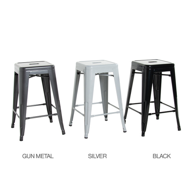 CAP Living Set of 4, Stackable 24 inches Sturdy Square Seat Metal Bar Stools, Colors Available in Glossy Black, Silver or Dark Gunmetal
