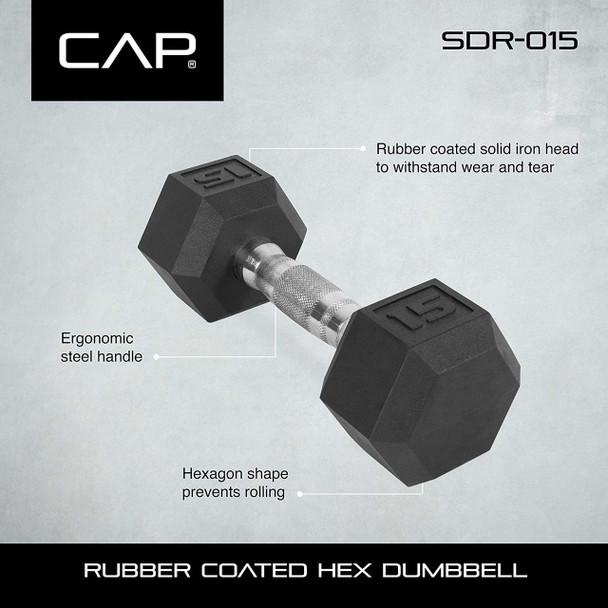 "CAP Barbell Rubber Hex Dumbbell Set, 3-Tier 51"" Rack, 550-Pound"