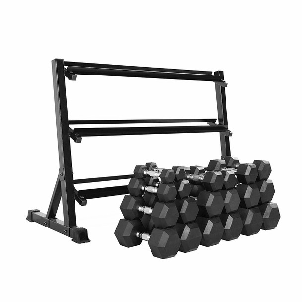 "CAP Barbell Rubber Hex Dumbbell Set, 3-Tier 51"" Rack, 550-Pound"