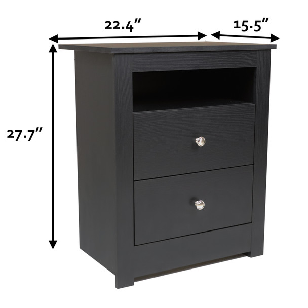 Multipurpose Wood Night Stand, End Table, Accent Table with 2-drawer
