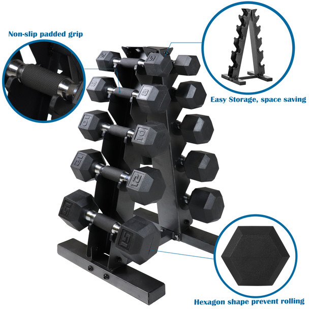 CAP Barbell 100(5, 8, 10, 12, 15 Pair) LB PVC-Coated Hex Dumbbell Set with 5-tier Rack Stand