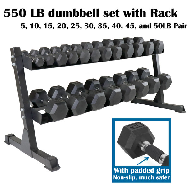 CAP Barbell PVC-Coated Hex Dumbbell Pairs Set, Dumbbell Set with Rack Stand, or Set of 2 Weights with Padded Grip (550LB Dumbbell Set with Rack)