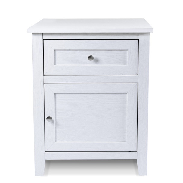 CAP Living Multipurpose Wood Night Stand, Bedside Table, End Table, Accent Table w/ Drawer and Cabinet for Living Room and Bedroom, White Oak