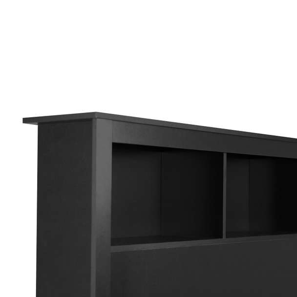 CAP Living Wood Bookcase Headboard with Storage, Bedroom Bookcase Headboard, Queen Size, Solid Black