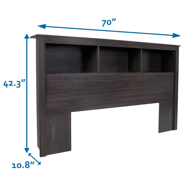 CAP Living Wood Bookcase Headboard with Storage, Bedroom Bookcase Headboard, Queen Size, Espresso