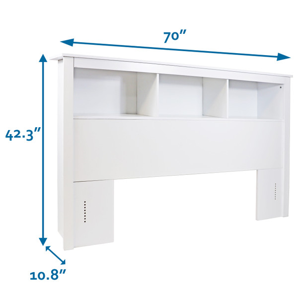 CAP Living Wood Bookcase Headboard with Storage, Bedroom Bookcase Headboard, Queen Size, Solid White