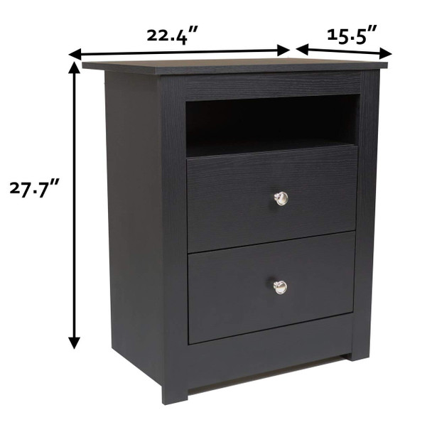 CAP Living Wood Bookcase Headboard with Storage, Bedroom Bookcase Headboard, Queen Size & TWO Multipurpose Wood Night Stand, End Table, Accent Table with 2-drawer SET - Solid Black