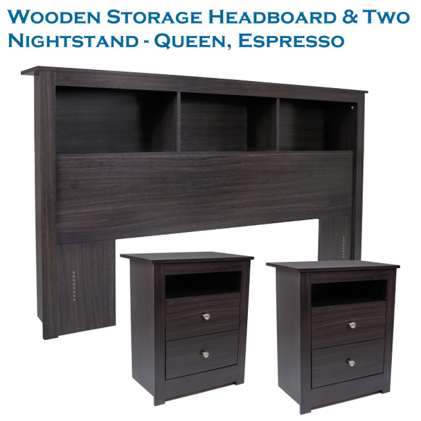 CAP Living Wood Bookcase Headboard with Storage, Bedroom Bookcase Headboard, Queen Size & TWO Multipurpose Wood Night Stand, End Table, Accent Table with 2-drawer SET - Espresso