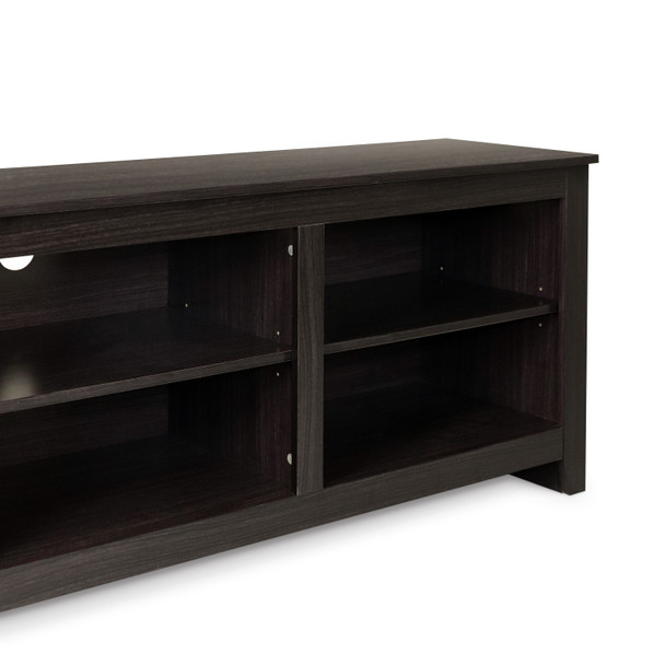 """CAP Living Wood 70"""" TV Stand Console Table with Open Storage Shelves for TV up to 60"""", Cappuccino"""