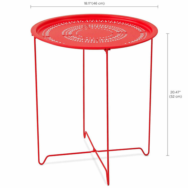Foldable 18-Inch Round Metal End Table, Side Table, Samba Red