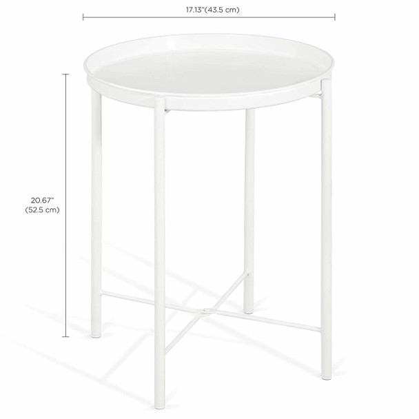 Foldable 17-Inch Round Metal Tray End Table, Side Table, Matte White