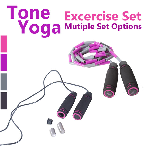 Tone Fitness Yoga Set – Beaded Jump Rope and Weighted Jump Rope