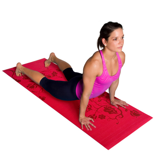 Tone Fitness Yoga Set –Tone Fitness Yoga Mat with Floral Pattern and Yoga Pink Towel