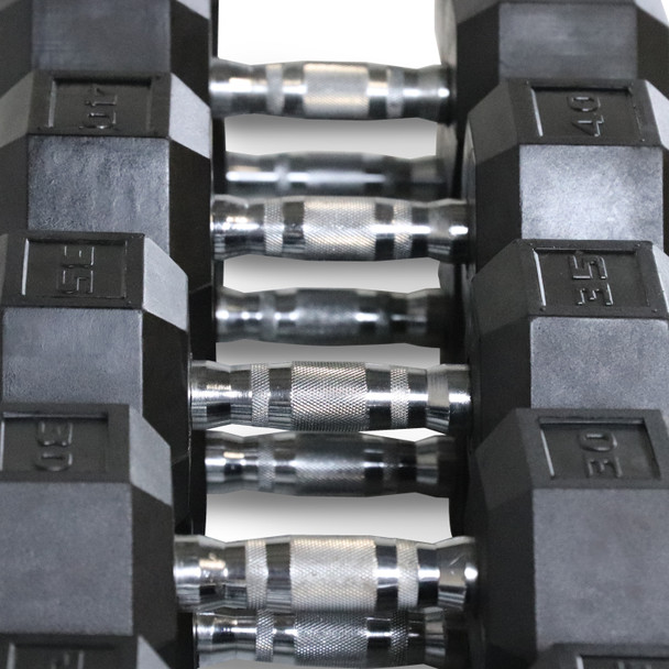 "CAP Barbell Rubber Hex 550-pound Dumbbell Set with 3-Tier 51"" Rack and Mat, 5 - 50LB Pairs"