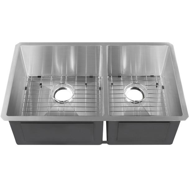 """CAPHAUS Undermount 60/40 Double Bowl 16 Gauge Stainless Steel Kitchen Sink, 32-3/4"""""""