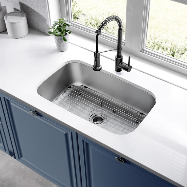 CAPHAUS Undermount Single Bowl 16 Gauge Stainless Steel Kitchen Sink, 31-1/2""