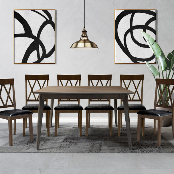CAPHAUS Modern 7 Pieces Kitchen/Dining Room Table Set for Home, Rectangular Table and Black Leather Cushion Chairs, Dining Table Set For 7 with Chairs