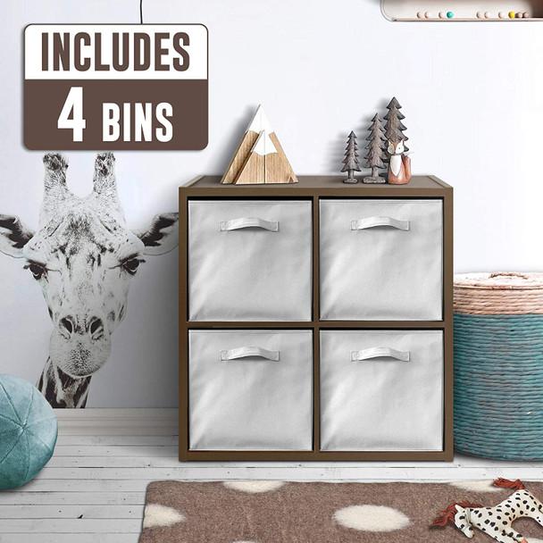 CAP LIVING 4 Cube Organizer w/Extra Wide Frame with storage bins, Espresso