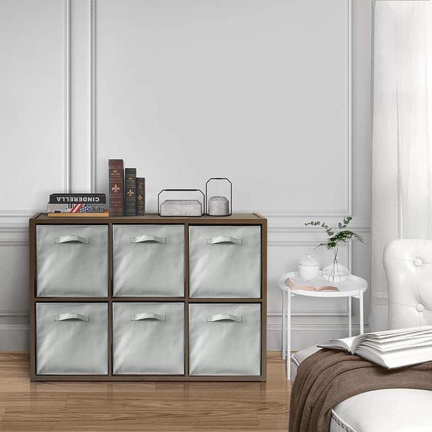 CAP LIVING 6 Cube Organizer w/Extra Wide Frame with storage bins, Espresso