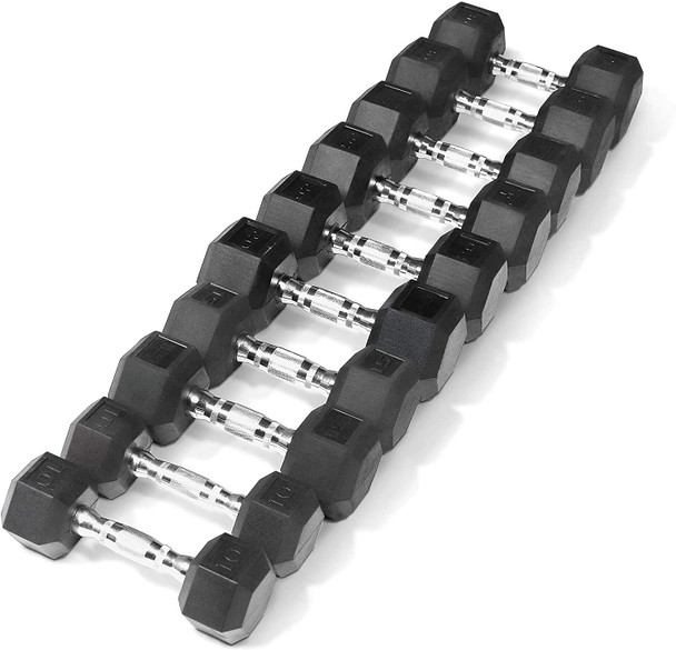 CAP Barbell 5-25Lb Rubber Coated Hex Dumbbell Set with A Frame Storage Rack- Multiple Choices Available