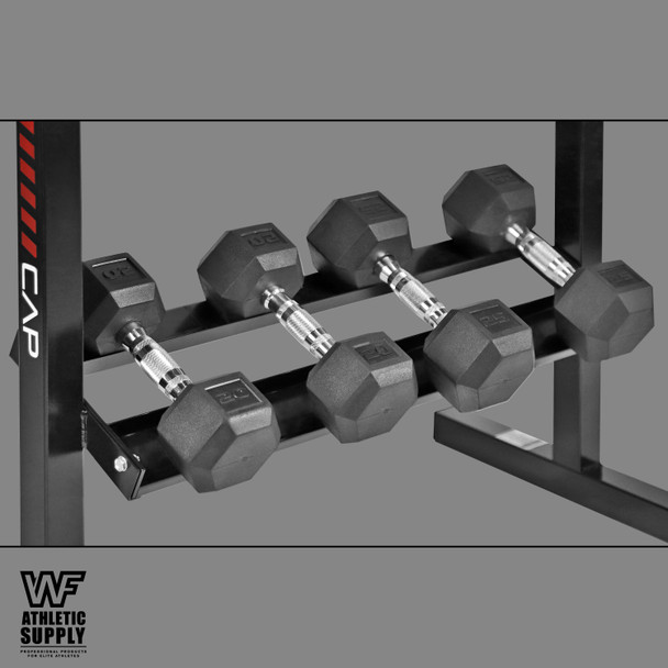 """Rubber Coated Hex Dumbbell Set 5-25Lb with Two Tier 30"""" Storage Rack"""