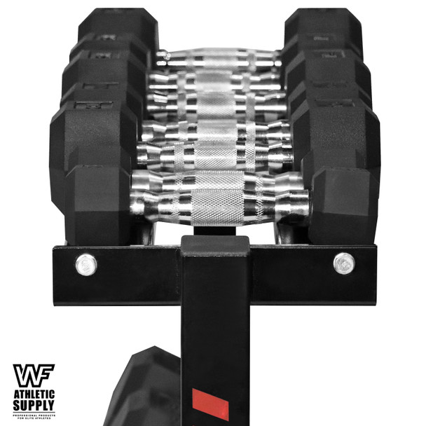 """Rubber Coated Hex Dumbbell Set 5 - 30 Lb with Two Tier 30"""" Storage Rack"""