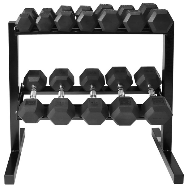 """Rubber Coated Hex Dumbbell Set 10 - 35 Lb with Two Tier 30"""" Storage Rack"""