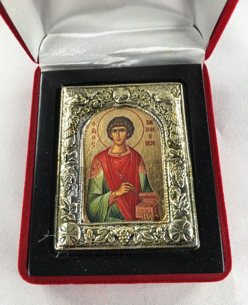 St. Panteleimon, Small Icon, Silver border