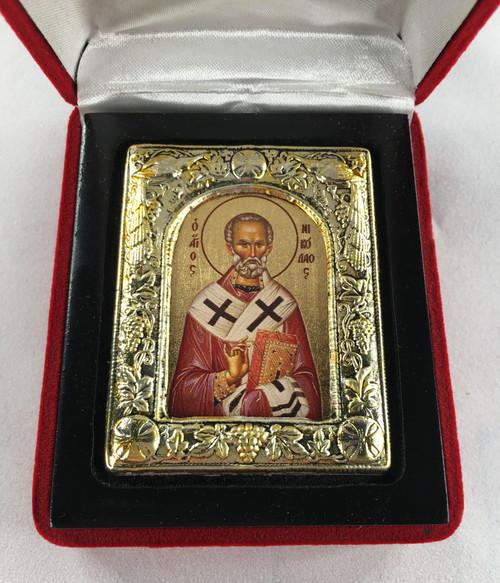 St. Nicholas, Small Icon, Silver border