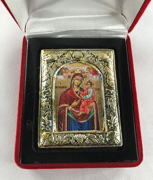 Theotokos - Quick to Hear, Small Icon, Silver border