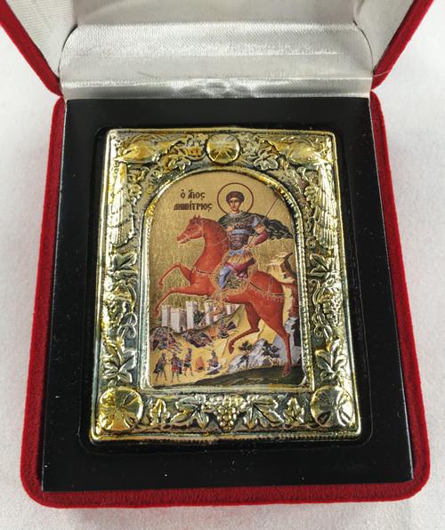 St. Demetrios, Small Icon, Silver border