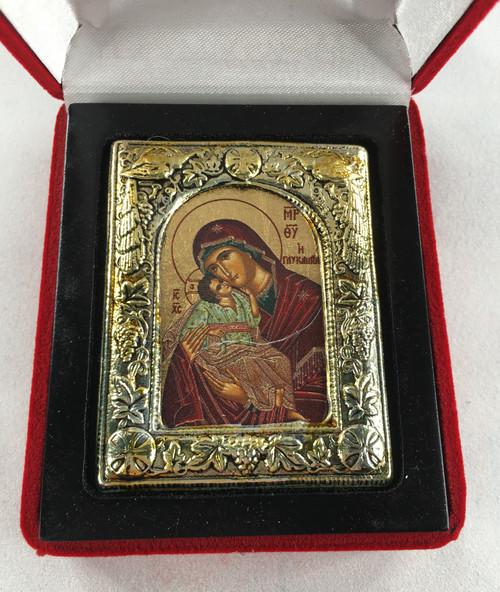 Theotokos - Sweet-kissing, Small Icon, Silver border