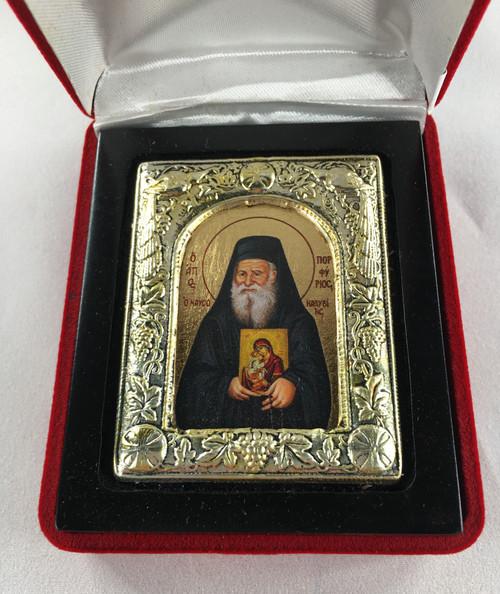 St. Porphyrios, Small Icon, Silver border