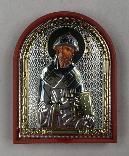 St. Spyridon, Small Rounded Metallic Icon