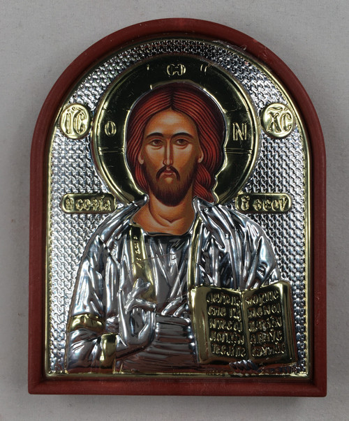 Christ - Pantocrator, Small Rounded Metallic Icon