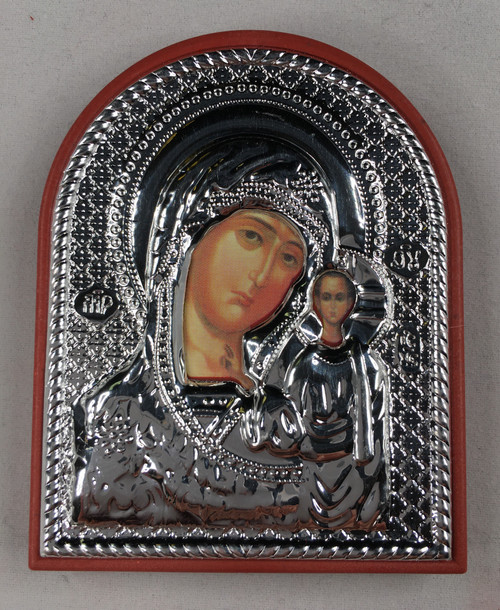 Theotokos - Kazan, Small Rounded Metallic Icon